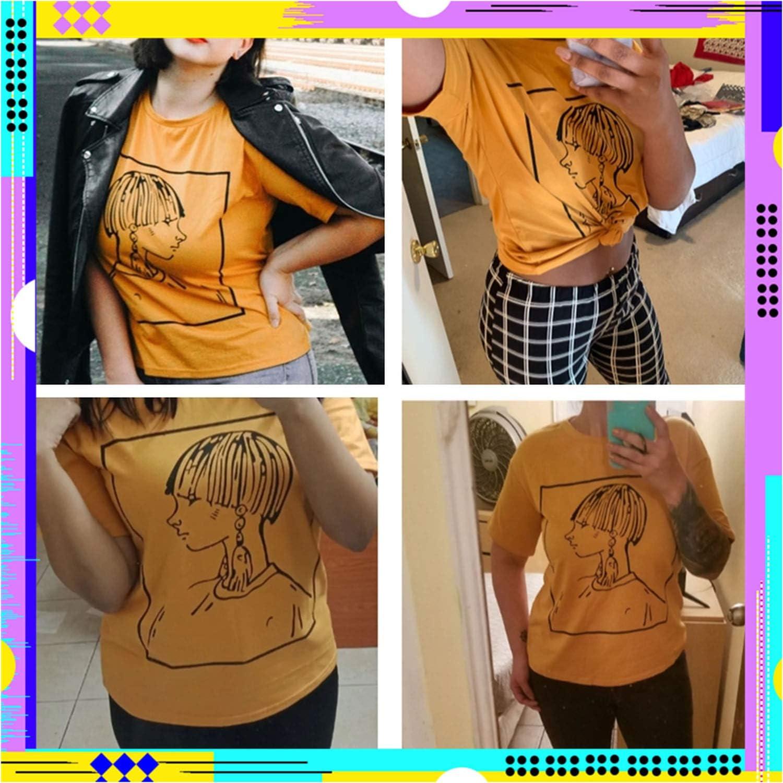 Figure Print Drop Shoulder Tee Ginger Short Sleeve Round Neck Glamorous Summer T Shirt