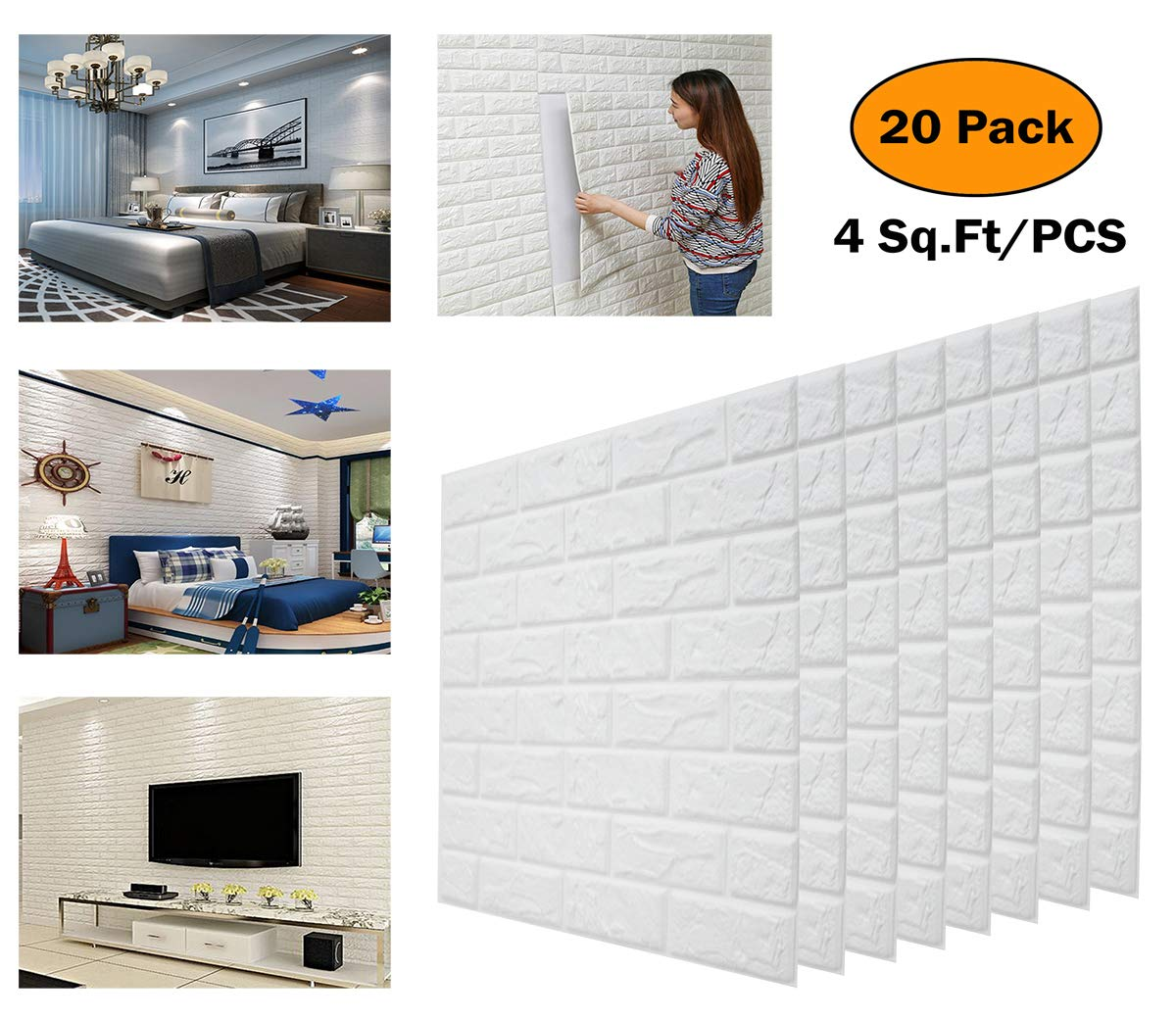 20pcs 3D Brick Wall Stickers Self-adhesive Wallpaper White Faux Brick Textured Effect Background for Wall Decoration DeElf