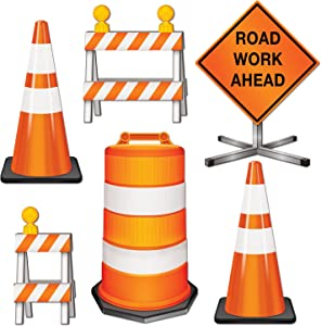 "Beistle 54376 Road Crew Cutouts, 11""-18"", 6 Pack,Orange/White/Black"