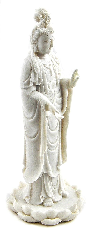 Bellaa 23712 Femal Buddha Kuan Yin Statue Guanyin Goddess of Mercy 9 inch