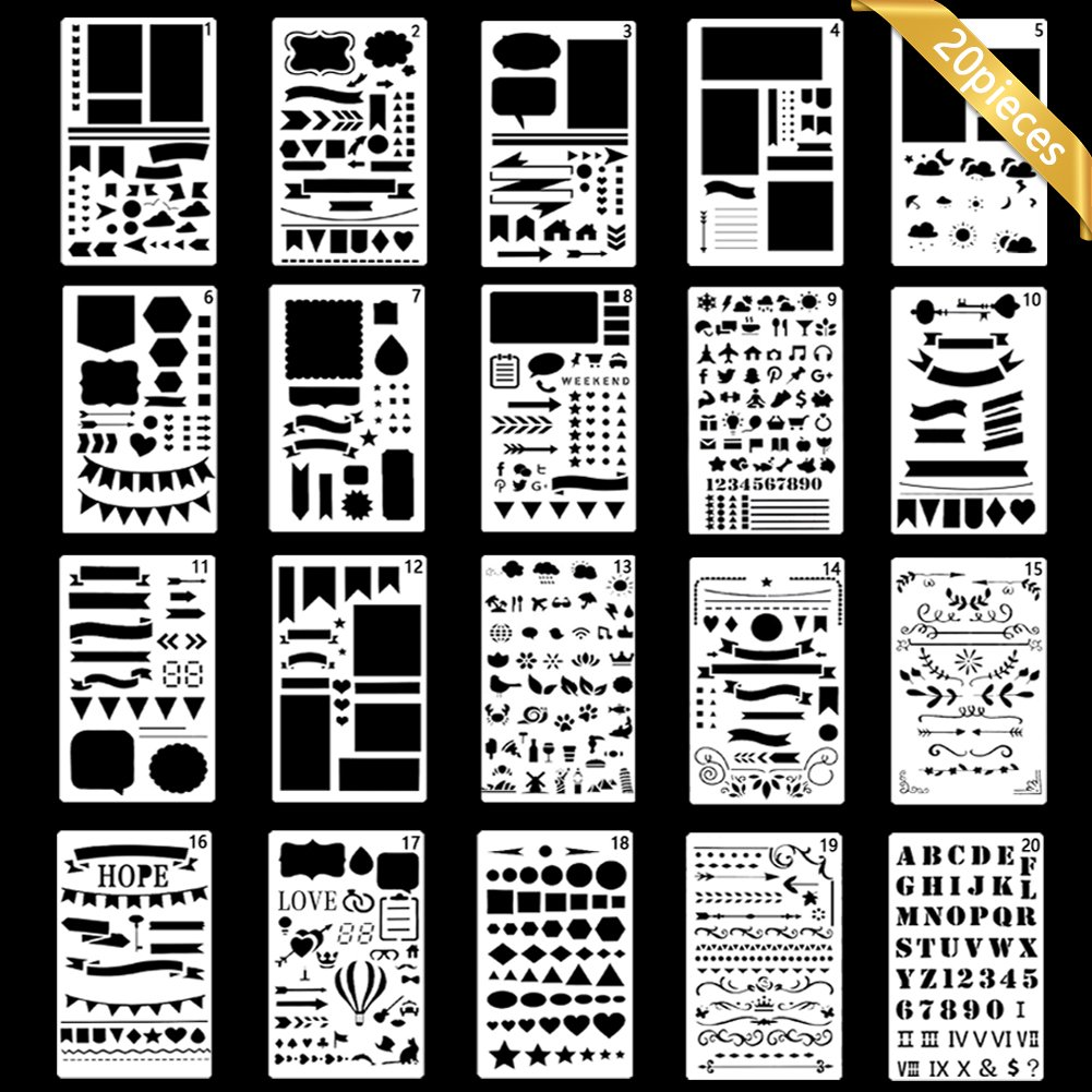 Bullet Journal Stencil Plastic Planner Stencils Journal/Notebook/Diary/Scrapbook DIY Drawing Template Stencil 4x7 Inch, 20 Pieces BZQH-TANG 4336865397