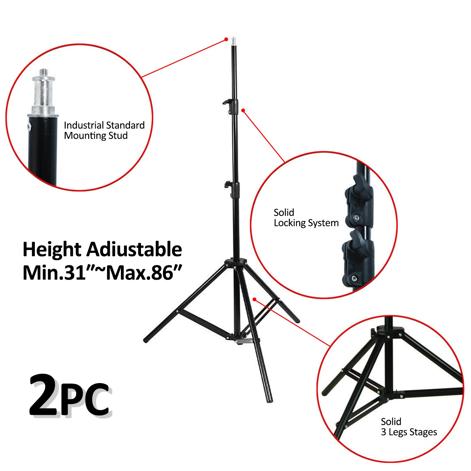 VILTROX 2-Pack VL-200 3300K-5600K CRI95 Super Slim LED Video Light Panel Photography Lighting Kit with Light Stand, Hot Shoe Adapter, Remote Controller, AC Adapter for YouTube Studio Video Shooting by VILTROX (Image #6)