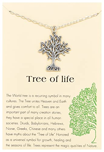 Attrayant Tree Of Life Round Pendant Necklace Silver Tone With Inspirational Quote  Card 121, 16u0026quot;