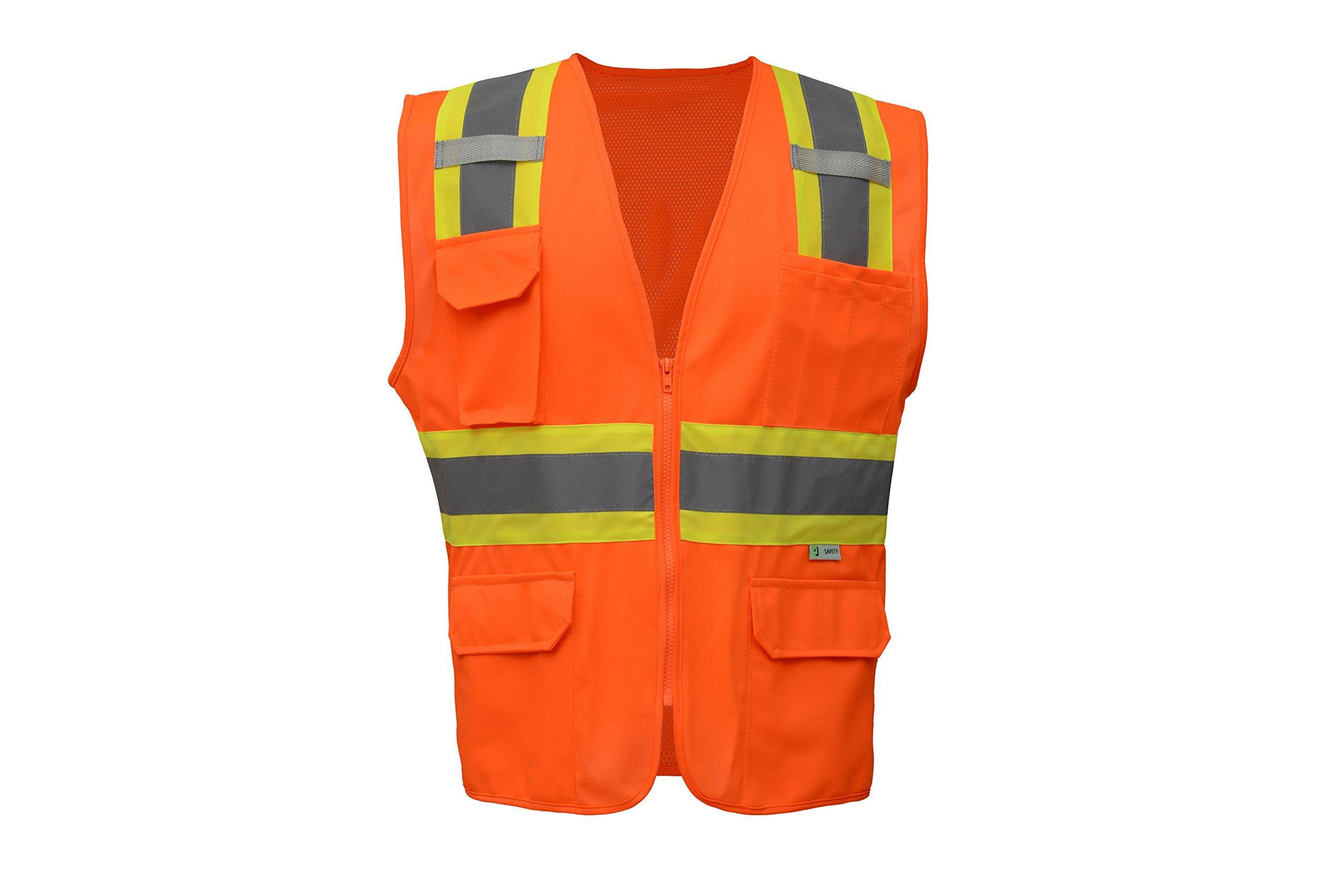 CJS CJHVSV2004 Two-Tone Heavy Duty Surveyor Safety Vest (Solid front & Mesh back) - ANSI Class 2 (Large, Orange)