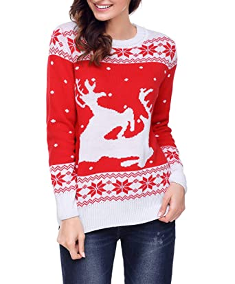 859baf7bd1 Amazon.com  Spmor Women s Ugly Christmas Reindeer Holiday Sweater Knitted  Pullover  Clothing