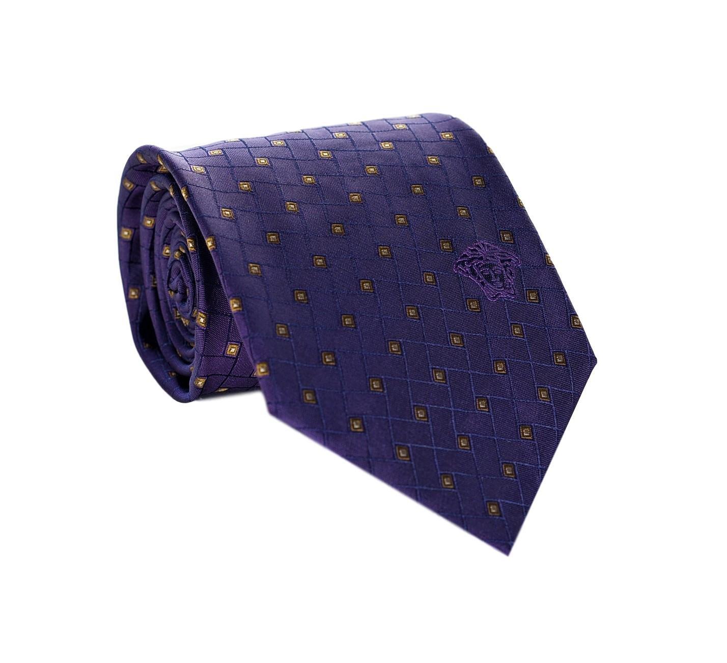 Versace Men's Geometrical Square Patterned Silk Necktie Purple
