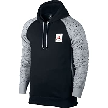 c383b062c62aba Nike Mens Air Jordan 4 Speckle Pull Over Hooded Sweatshirt Black Wolf Grey Gym  Red 821903-010  Amazon.ca  Sports   Outdoors