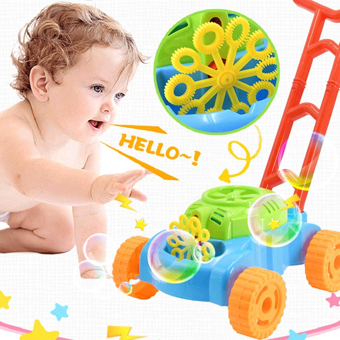Sunshine smile Maquina de Burbujas, Máquina Burbujas Cortacésped, Juguete Burbujas Jardin niños, Portátil Máquina de Burbujas, Juguete Burbujas automática Cortacésped (Azul y Naranja)