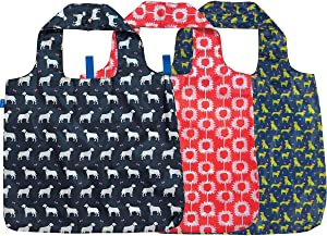 rockflowerpaper Dogs Pink Dachshund Navy Pug Black Labrador Printed Blu Bag Pack of 3 Reusable Grocery Shopping Bag, Eco-friendly Convenient Machine Washable Everyday Totes