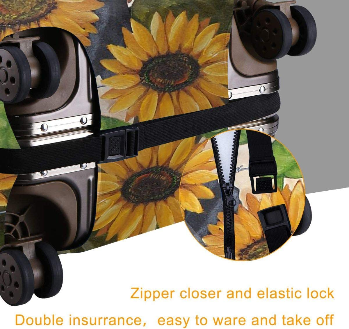 Luggage Cover Protective Washable Suitcase Protector Cover Travel Elastic Spandex Baggage Protector Sunflower Cow Daydream Funny Fits 18-32 Inch