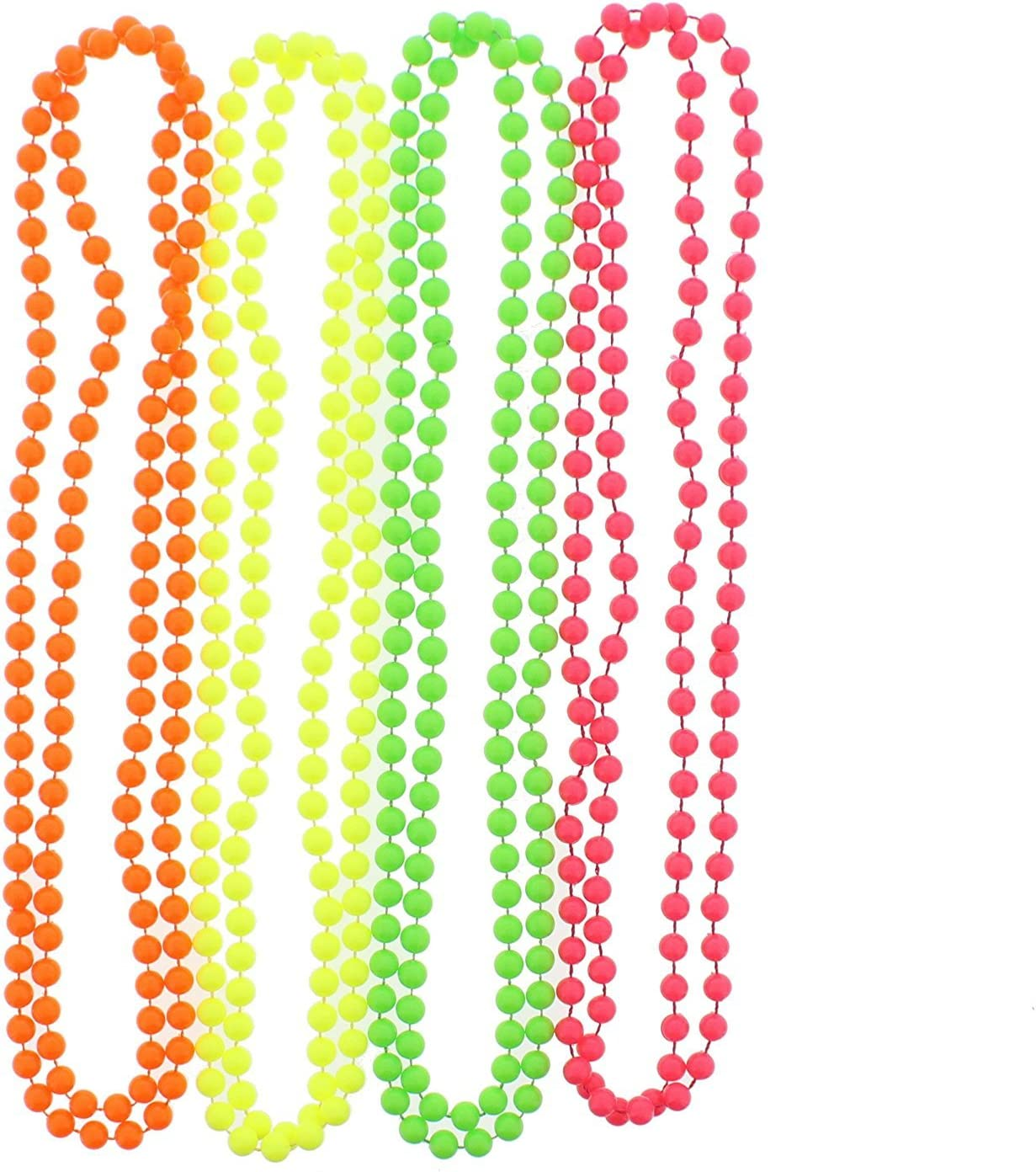 NEON PLASTIC BEADED NECKLACE  A CHOICE OF FOUR NEON COLOURS 24 INCHES IN LENGTH