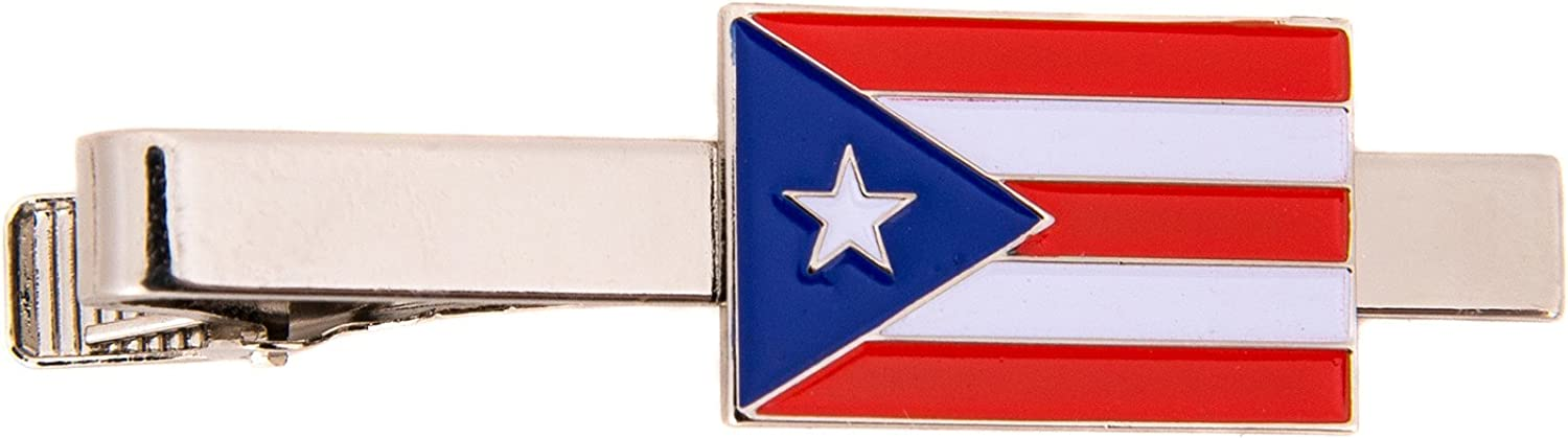 Desert Cactus Puerto Rico State Rectangle Flag Tie Bar Made of Metal Souvenir (Silver Tie Bar)