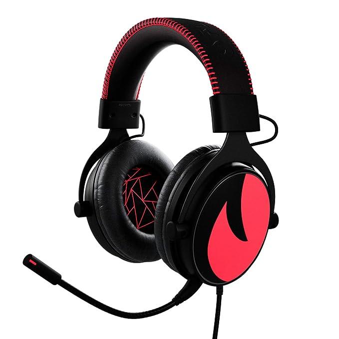 Flamefall Asterion - Auriculares gaming HD 7.1 con drivers de 53mm, micrófono con cancelación de ruido y espuma con efecto memoria.