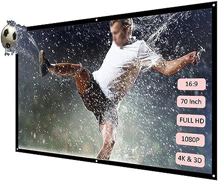 Docooler H70 70 Pantalla de proyección portátil HD 16: 9 Blanco 70 ...