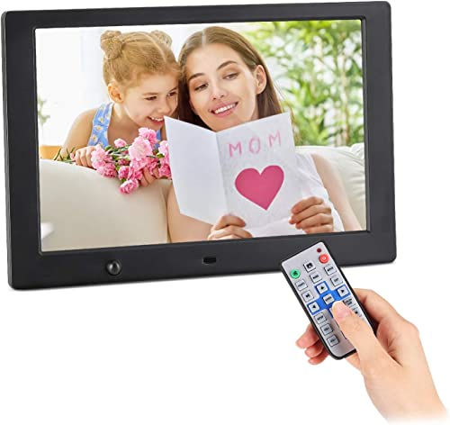 10 Inch Digital Picture Frame – HD IPS Display, Digital Photo Frame with 1080P Video, Music, Calendar, Alarm, Support USB and SD Card