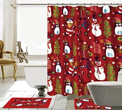 BH Home Linen Christmas Seasons Greetings 15 Piece Shower Curtain Set With Crystal Roller