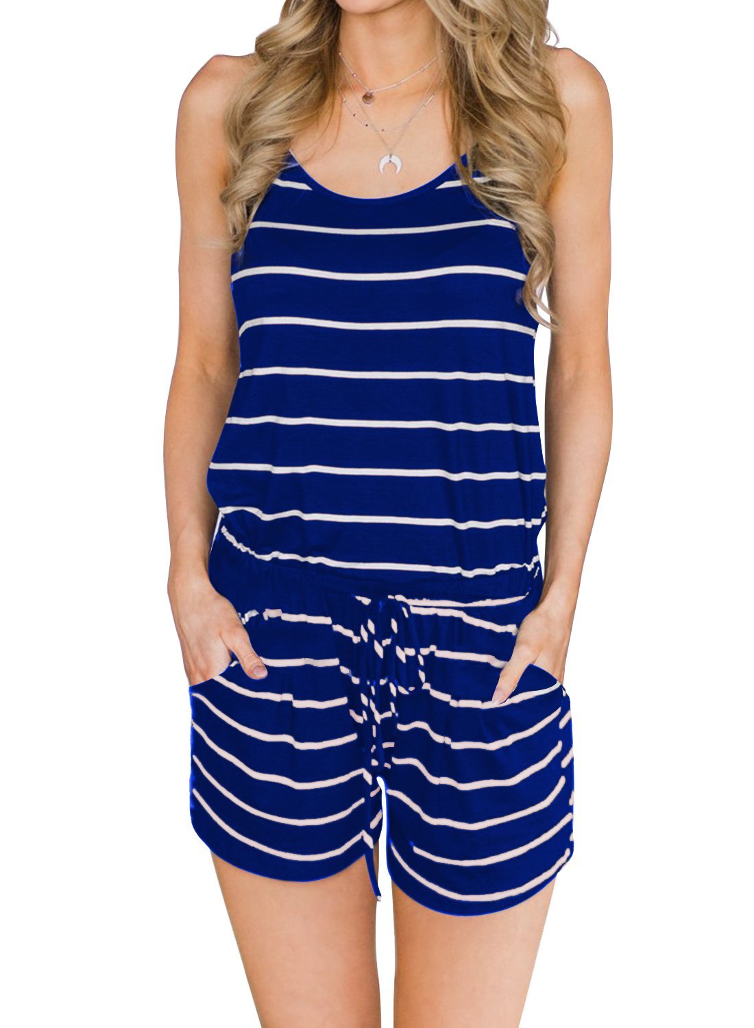 MIHOLL Women's Summer Striped Jumpsuit Casual Loose Sleeveless Jumpsuit Rompers (Medium, A-Blue)
