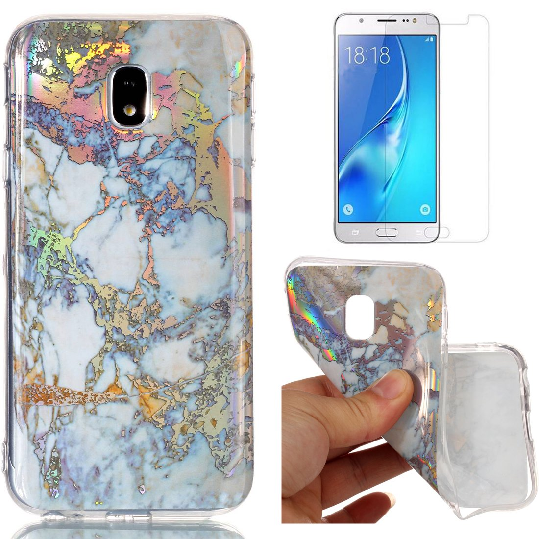 For Samsung Galaxy J3 2017 J330 Marble Case Blue and Gray,OYIME Unique Luxury Glitter Colorful Plating Pattern Skin Design Clear Silicone Rubber Slim Fit Ultra Thin Protective Back Cover Glossy Soft Gel TPU Shell Shockproof Drop Protection Protective Trans