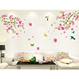 モモの花 鳥 蝶 ウォールステッカー 壁 シール 花 ウォールペーパー 壁紙 ウォールシール 60 * 90cm*1枚