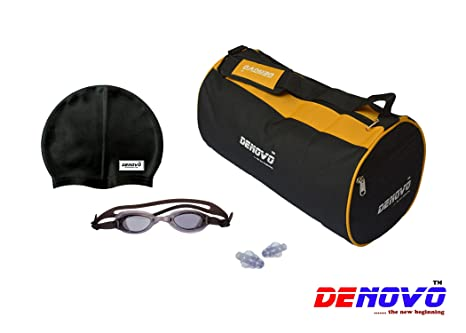 DeNovo Supreme Swimming Kit  Kit Bag, Swimming Cap, Swimming Goggle and Ear Plugs  Swimming Swim Caps