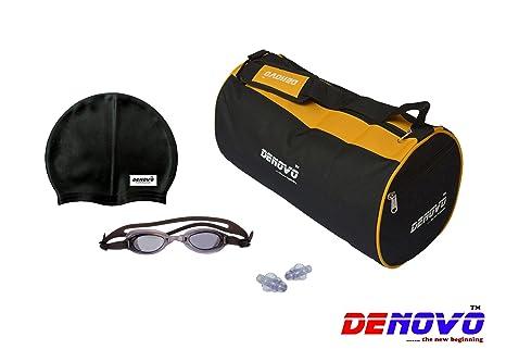 DeNovo Supreme Swimming Kit  Kit Bag, Swimming Cap, Swimming Goggle and Ear Plugs  Swim Caps