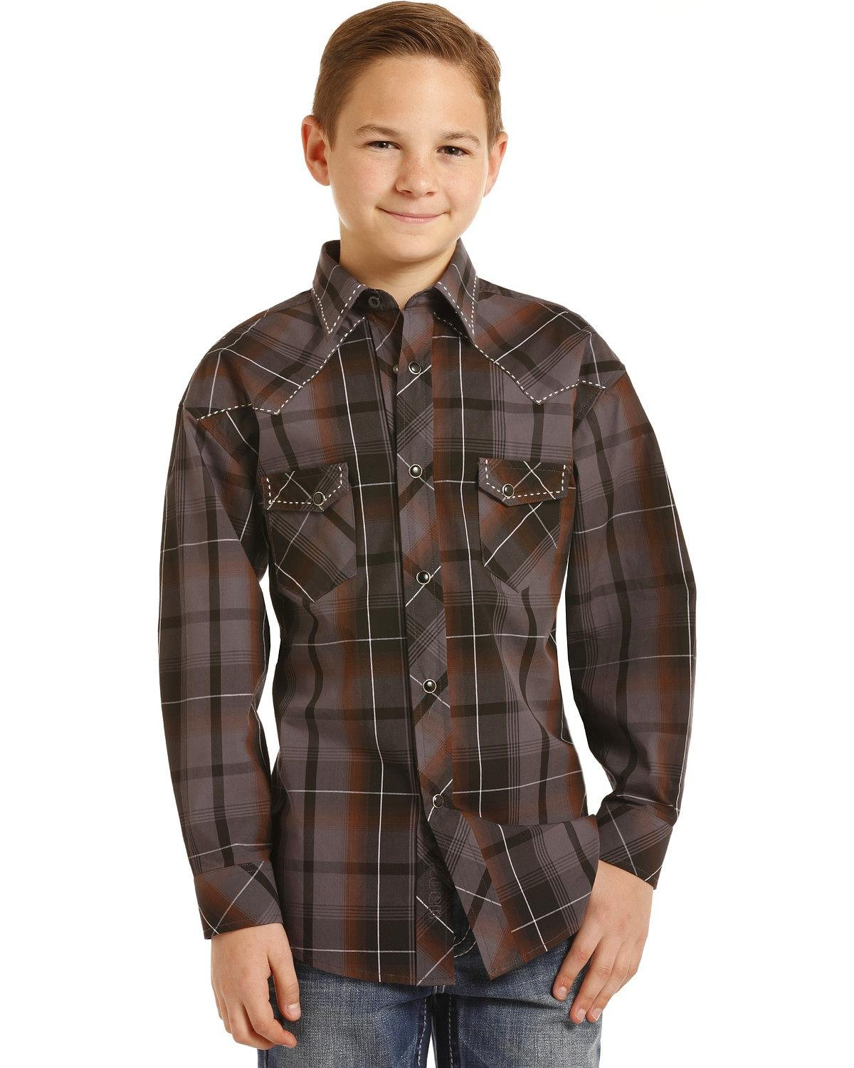 Rock & Roll Cowboy Boys Yarndye Poplin Plaid Long Sleeve Snap Shirt (Medium) Brown