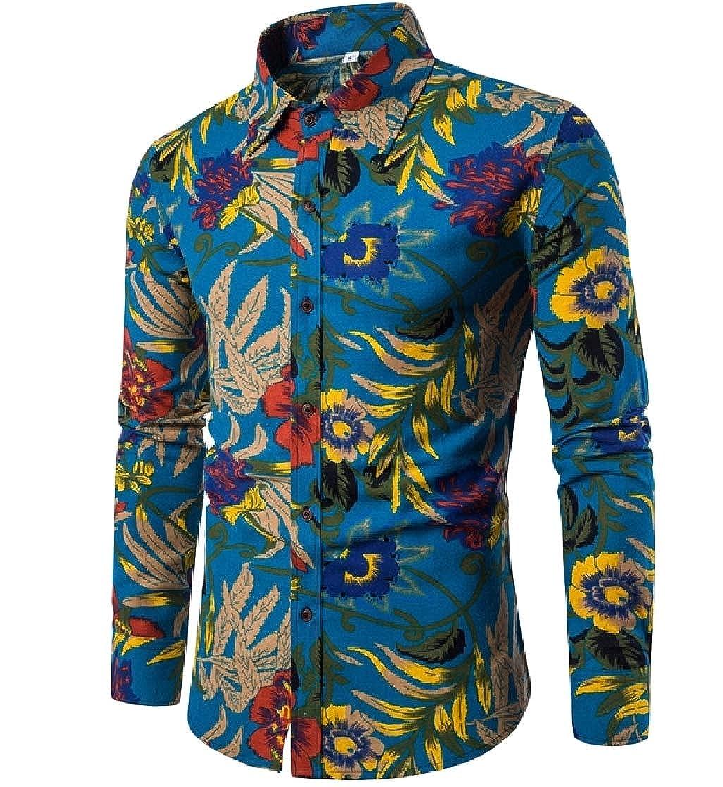 YUNY Men Long Sleeve Plus-Size Slim Lapel Button Printed Tees Top Shirts Pattern13 4XL