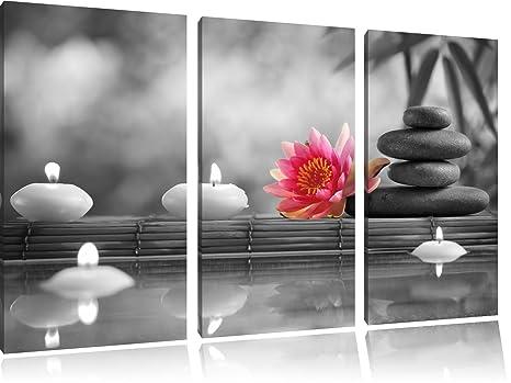 Nenúfar además Zen piedras y velas negro/blanco sobre 3 ...