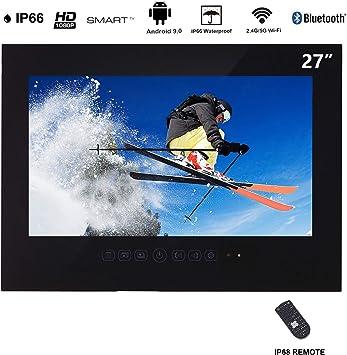 Haocrown Smart TV LED para baño IP66 Impermeable Sistema Android Televisión con Pantalla táctil y Wi-Fi Incorporado (27 Pulgadas, Negro): Amazon.es: Electrónica