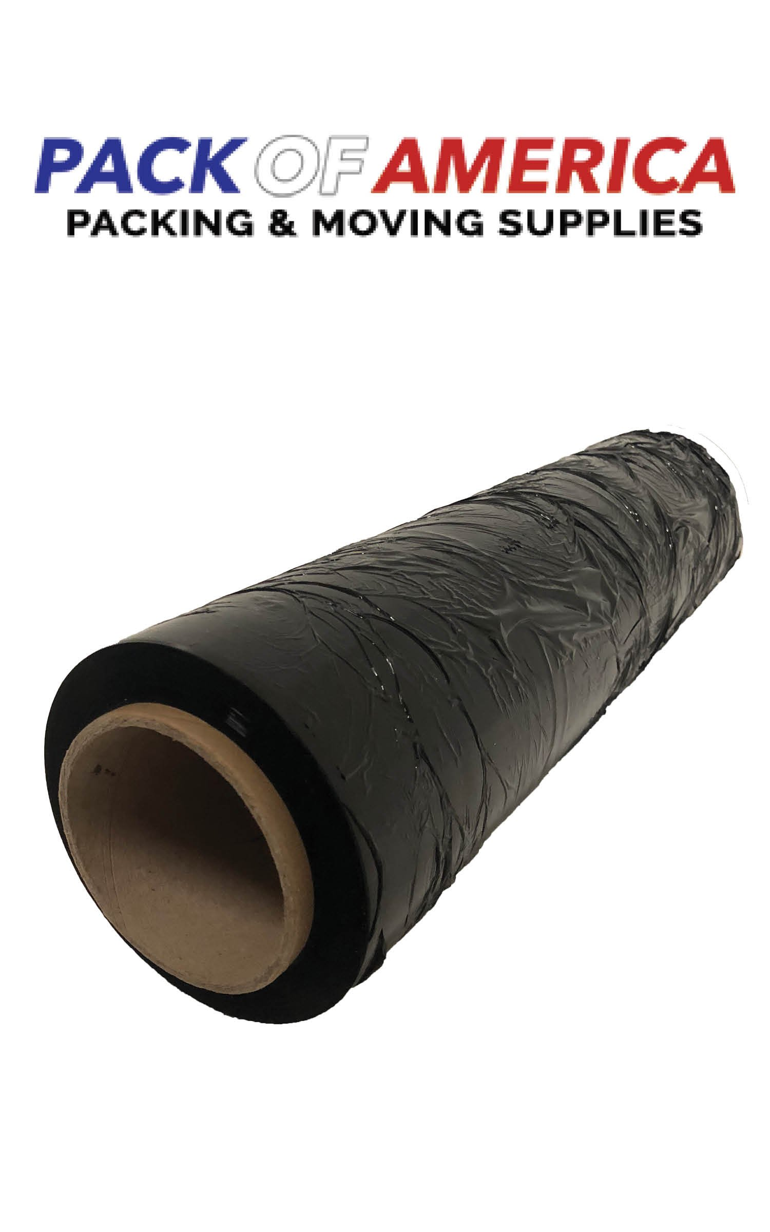 Pack of America Industrial Stretch Film 18'' x 1100 Ft 3'' Core, 80 Gauge, Hand/Shrink Wrap, Heavy Duty, Moving and Packing Supply, Ideal for Furniture, Boxes and Pallet Wrapping (1 Pack/Roll, Black)