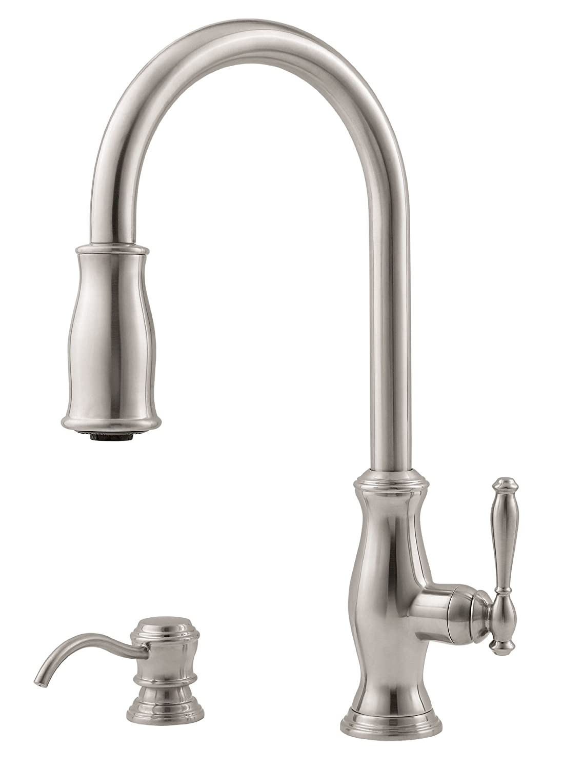 Pfister F5297TMS Hanover 1-Handle Pull-Down Kitchen Faucet with Soap ...