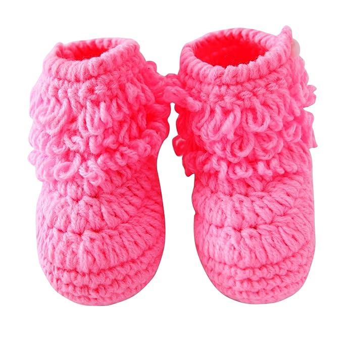 chic-chic- niño bebé Crochet tejer Botines en bas Age pequeños niñas zapatos botines de Premier Pas cálido invierno Pantuflas PUNTO marrón rose Talla:3-5 ...