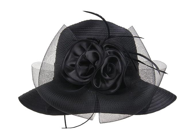 Prefe Lady s Kentucky Derby Dress Church Cloche Hat Bow Bucket Wedding  Bowler Hats (Black 5c06292f2baf