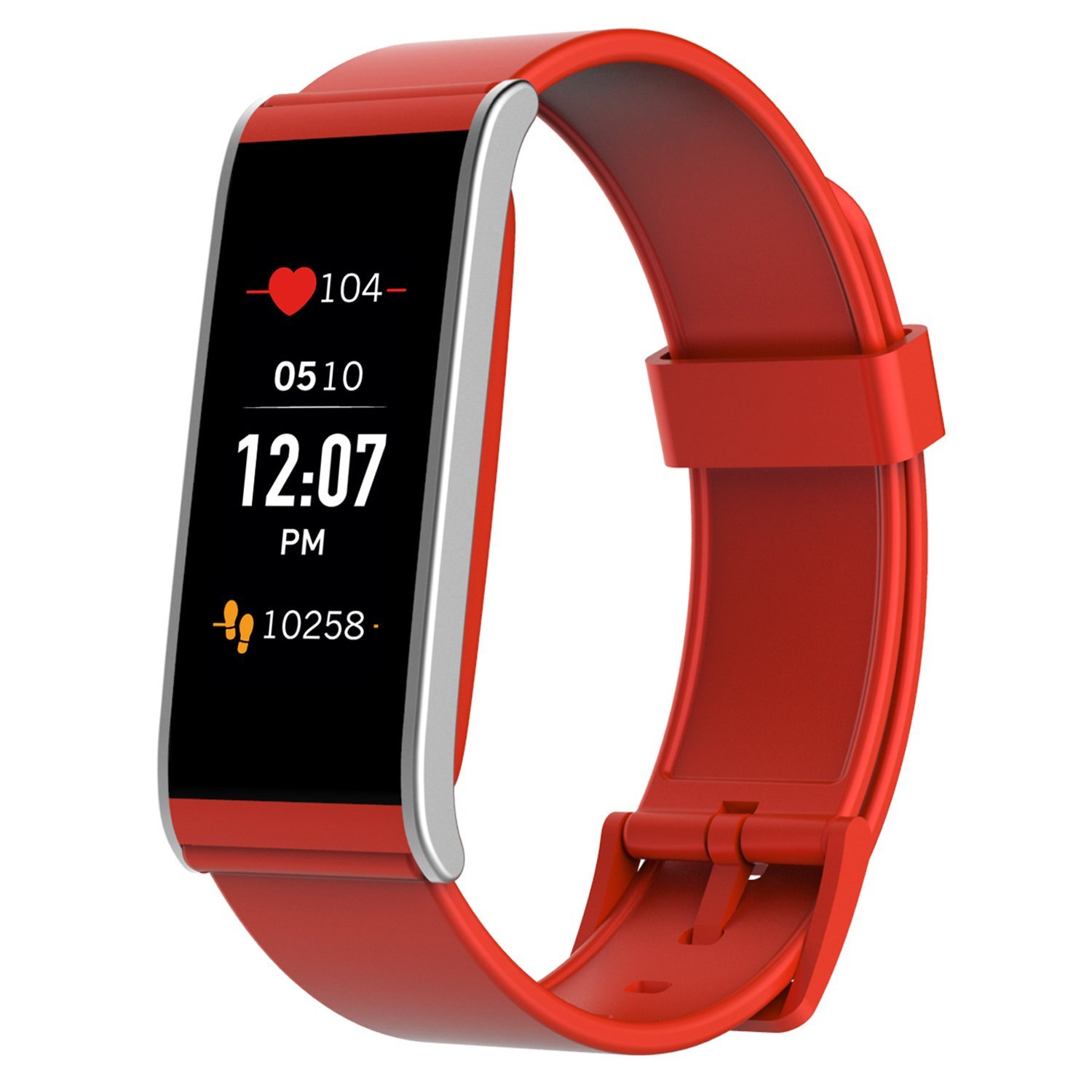 MyKronoz ZeFit4 HR Fitness Activity Tracker with Heart Rate Monitoring, Color Touchscreen & Smart Notifications - Red/Silver - New Never Opened Box - (Renewed) by MYKRONOZ