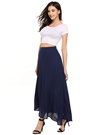 35b21f7f5 Zeagoo Womens Chiffon Maxi Long Skirt for Beach, Wedding at Amazon ...