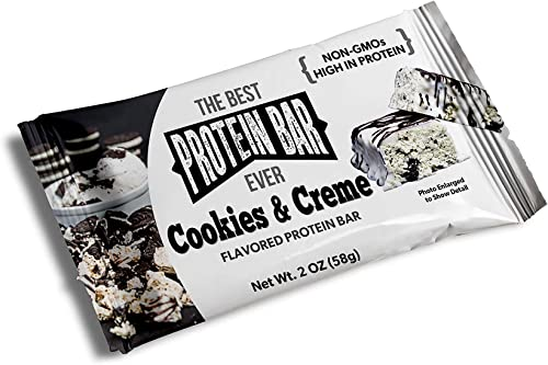The Best Protein Bar Ever – 10 Bars – Cookies Creme – Sports Performance Nutrition with Lepticore – 100 Satisfaction Guarantee 10