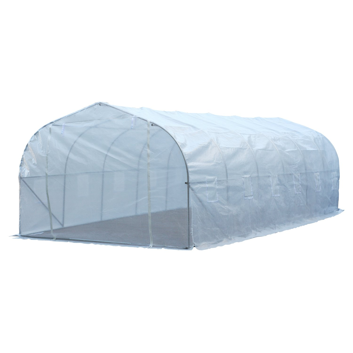 Outsunny 26'L x 10'W x 6.5'H Large Outdoor Heavy Duty Walk-In Greenhouse (White)
