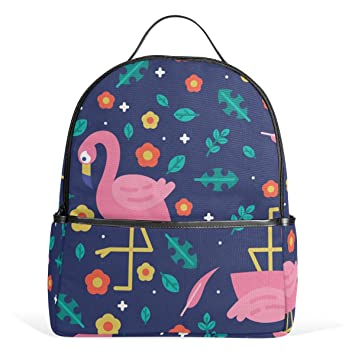 Flamingo Forest Leaves Flower School Backpack Canvas Rucksack Large  Capacity Satchel Casual Travel Daypack for Kids 1dffedba40dea