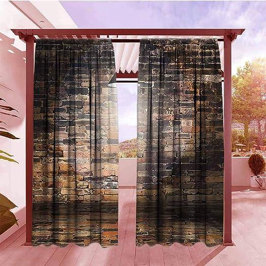 AndyTours - Cortinas con diseño rústico para decoración del hogar, ladrillos agrietados oscuros, lámpara de techo, luz de techo, luz de construcción, imagen colgada con bolsillo para barra, color negro y rojo: