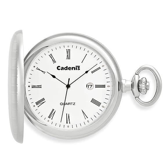 Cadenis Accessoires Reloj de bolsillo con grabado Laser de cuarzo con tapa de Salto savonette 50