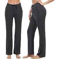 Irevial Pantalones de Yoga para Mujer Modal,Algodon Alta Cintura Elásticos pantalón de Campana con cordón, Casuales…