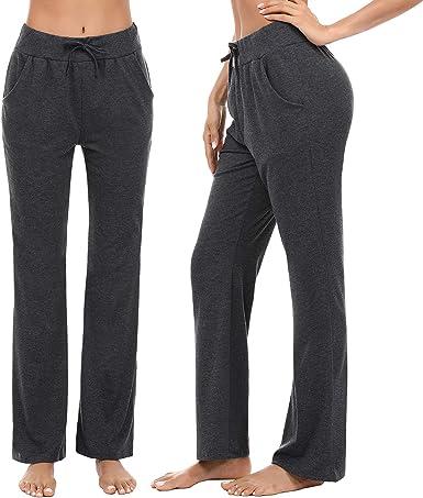 Irevial Pantalones de Yoga para Mujer Modal,100% Algodon,Alta Cintura Elásticos pantalón de Campana con cordón, Casuales Chandal Deportivo Verano,para Pilates Jogger Fitness: Amazon.es: Ropa y accesorios