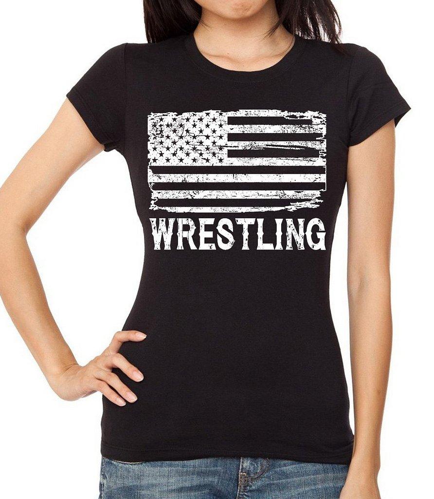 Interstate Apparel Inc Junior's Wrestling American Flag Black T-Shirt Large Black by Interstate Apparel Inc