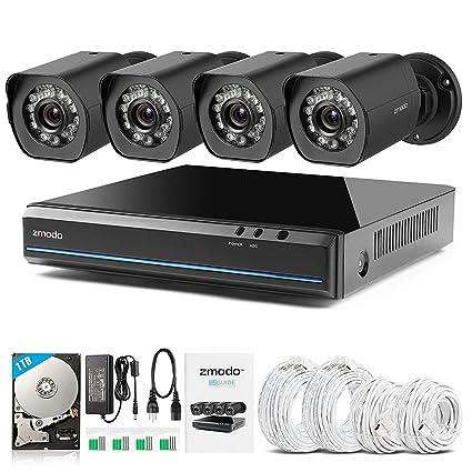 Zmodo 4 canales 1080P HDMI Videovigilancia NVR con 4 verdaderos 720P HD SPOE cámaras de vigilancia