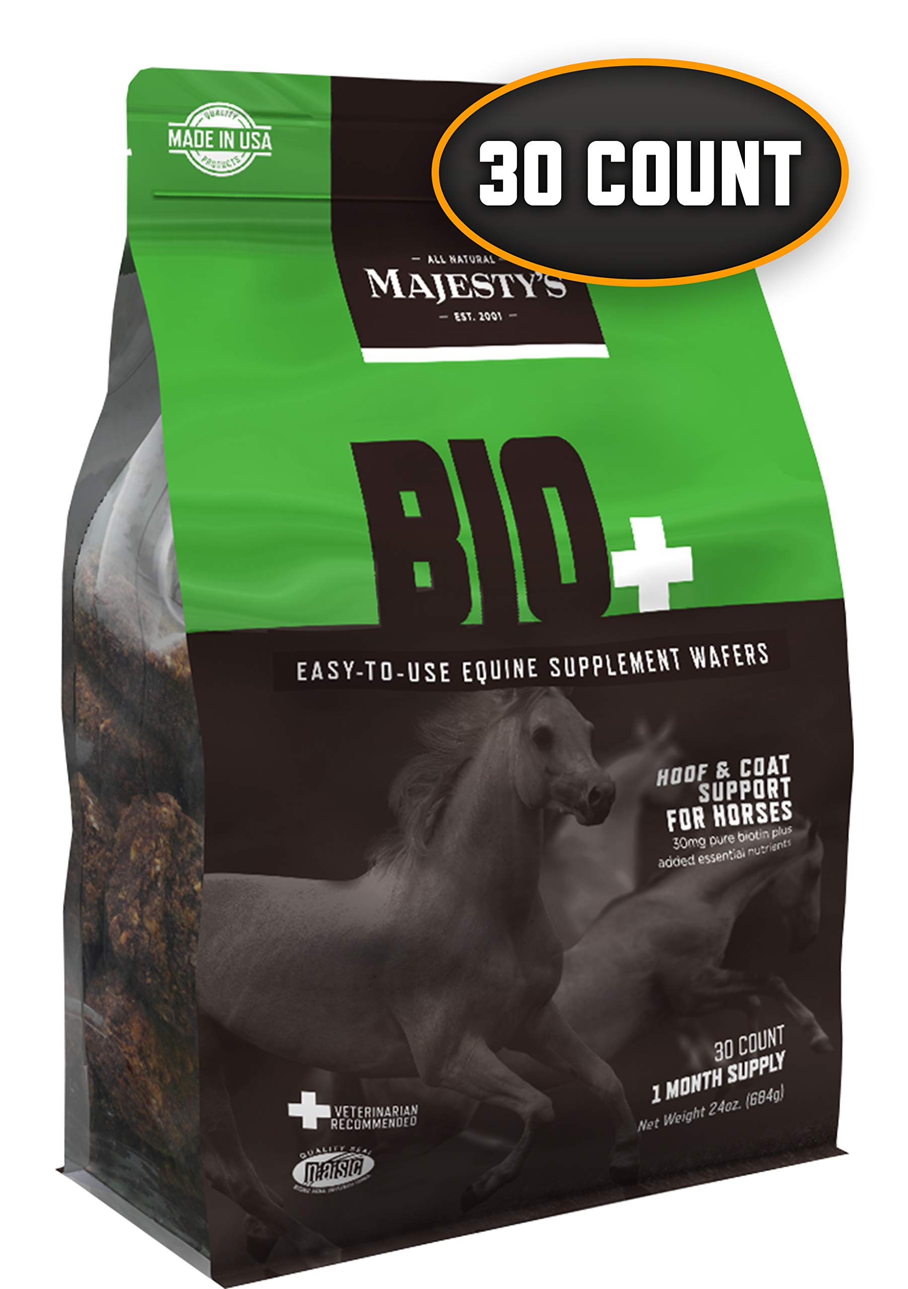 Majesty's Biotin Wafers - Superior Horse / Equine Hoof and Coat Support Supplement - Copper, Zinc, Lysine, Methionine -  30 Count (1 Month Supply) by Majesty's