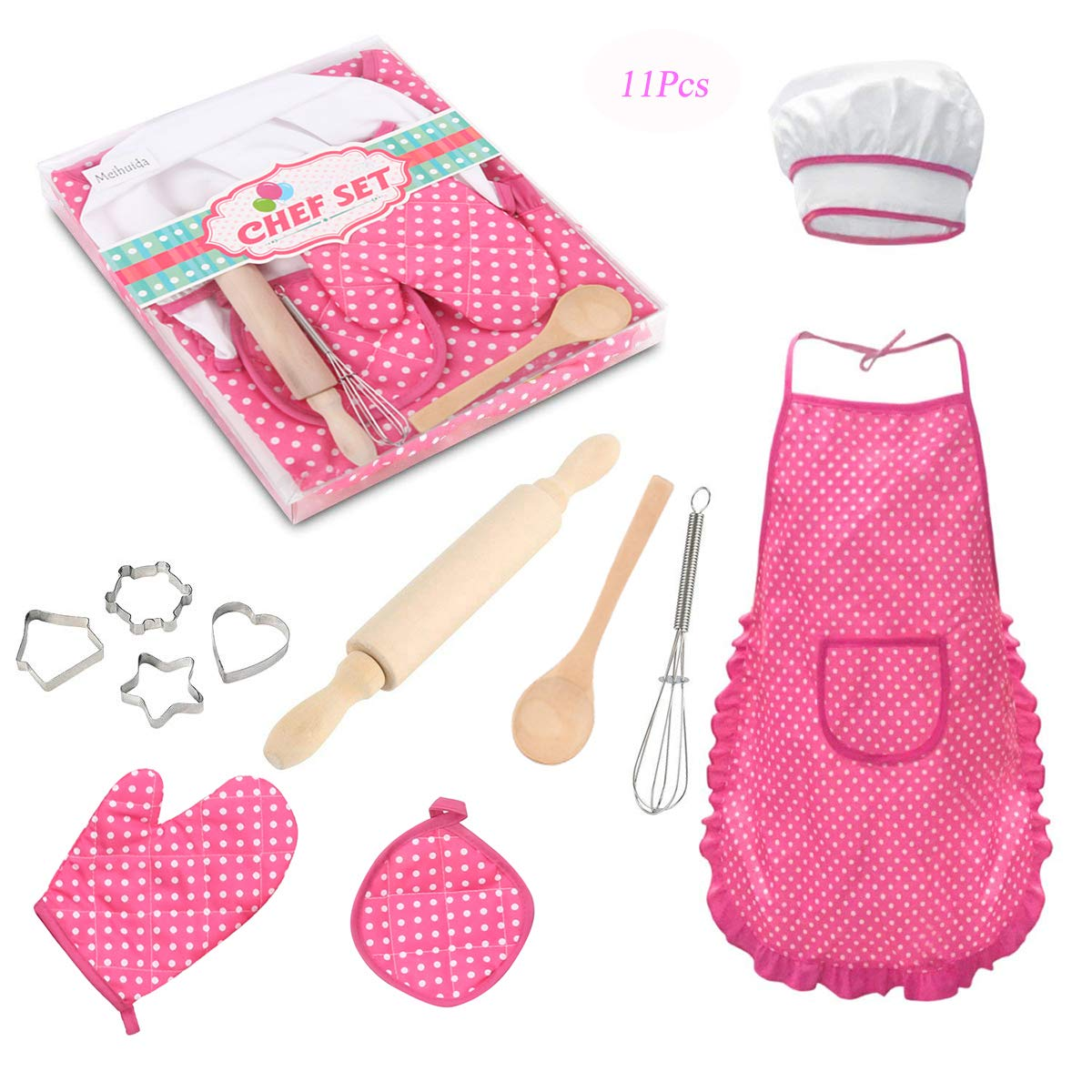 Meihuida Kids Chef Set for Girls, 11Pcs Cooking and Baking Set for Kids Toddler Dress up Pretend Play Kitchen Chef Costume Set with Apron, Chef Hat, Cooking Mitt and Cookie Cutters (Pink)