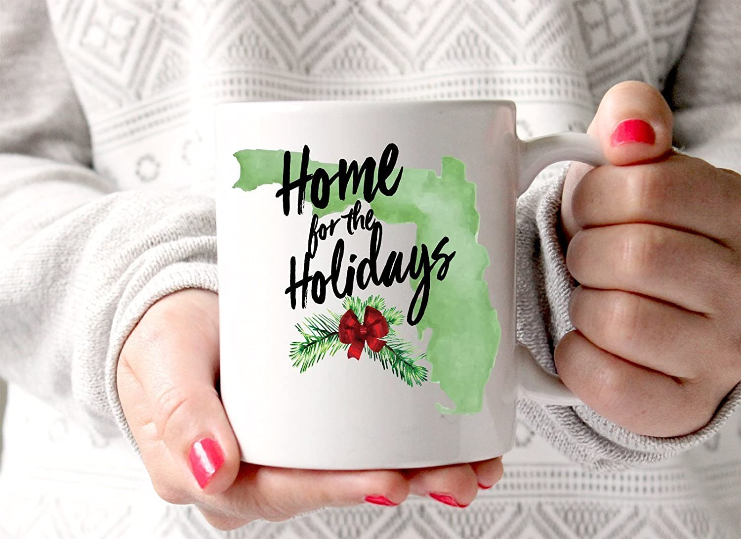 Gift Ideas for Friends Family Home Watercolor Holiday Coffee Mug Home State Gift for Christmas Mug Coffee Cup