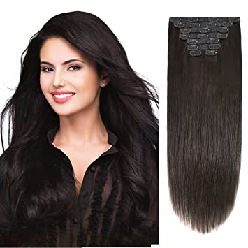 Amazon 20 clip on extensions human hair clip ins real hair 20quot clip on extensions human hair clip ins real hair extensions off black 1b pmusecretfo Gallery