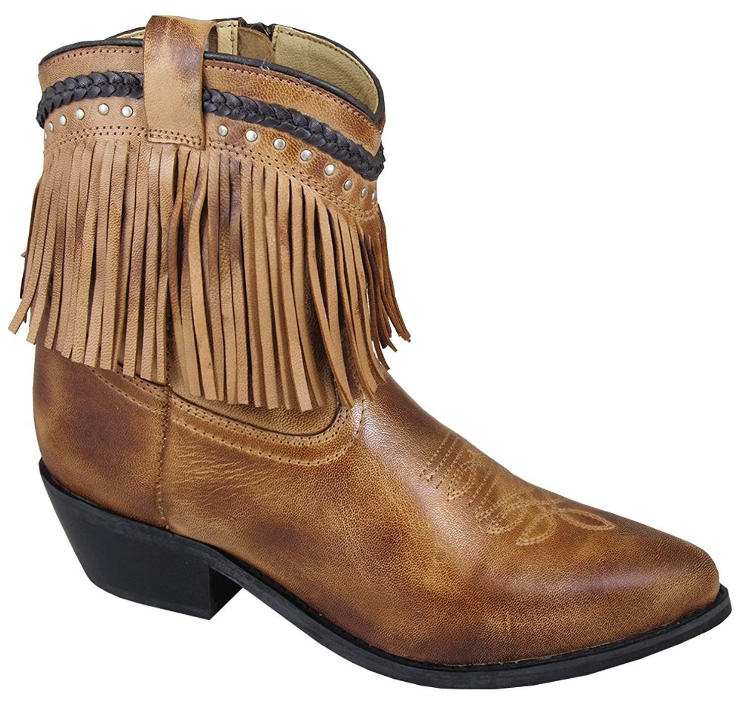 "Smoky Mountain Women's Torrance Leather 7"" Fringe Western Boots, Brown"