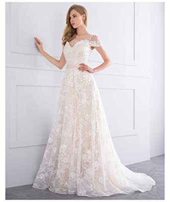 9402919fabb1b Simple Lace Flower Wedding Dresses for Bride 2018 Off Shoulder ...
